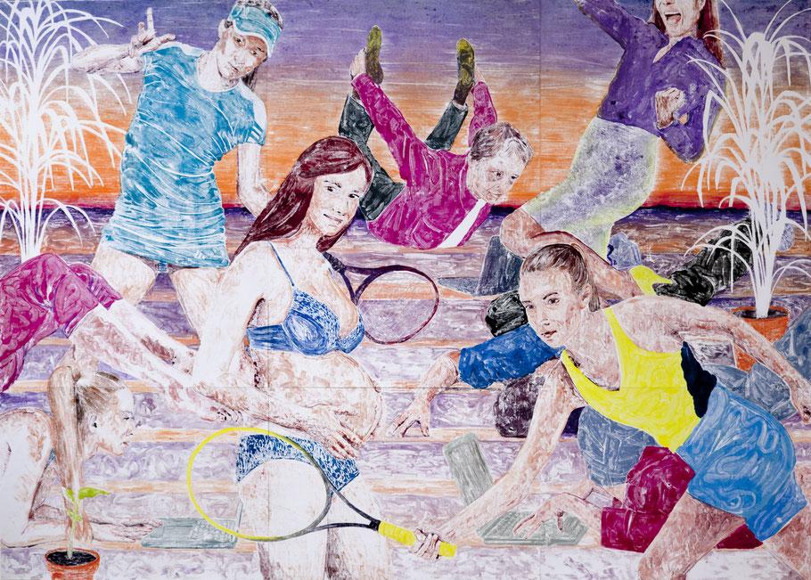 Monotypie, Ölfarbe auf Papier, 288 × 201 cm (9-teilig), 2016