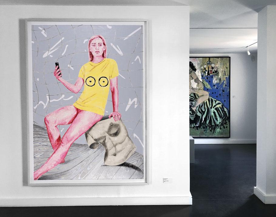 Installationview Villa Schöningen (Marion Fink 'Aphrodite calling', 210 x 152,4 cm, Monotype, 2018)