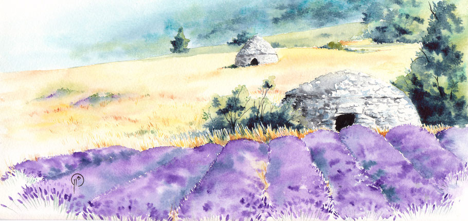 borie, aquarelle, illustration, nature, paysage