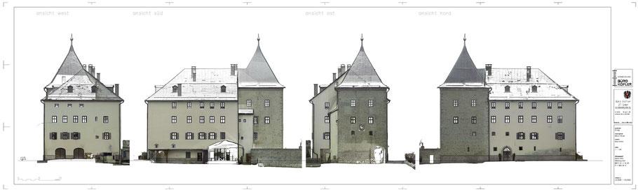 Ansichten Schloss Sigmundsried: mit einem Orthophoto hinterlegt