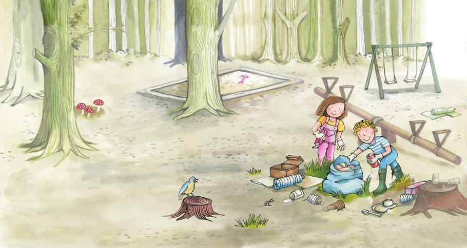 Bilderbuch von Michaela Rosenbaum und mir im Windy-Verlag: Zuviel Müll!