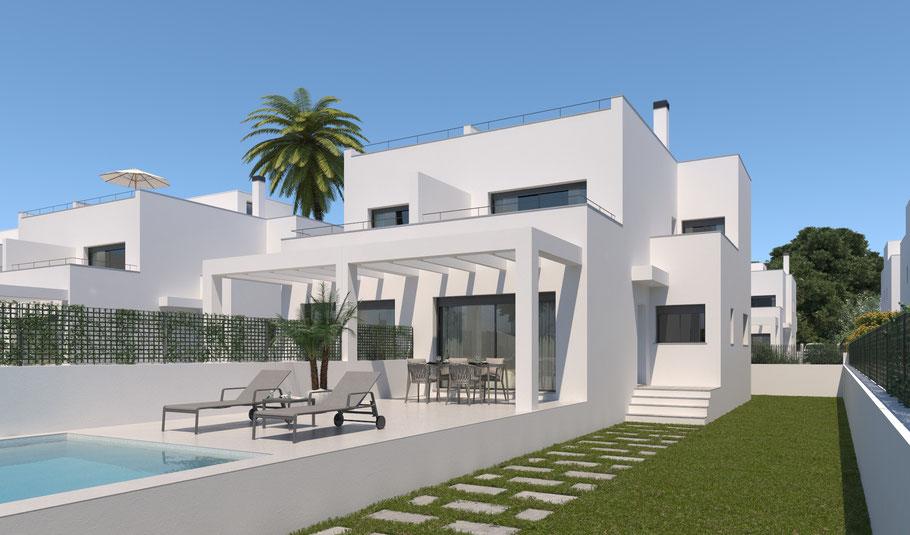 Ferienhaus auf Mallorca zum Teil mit Meerblick.