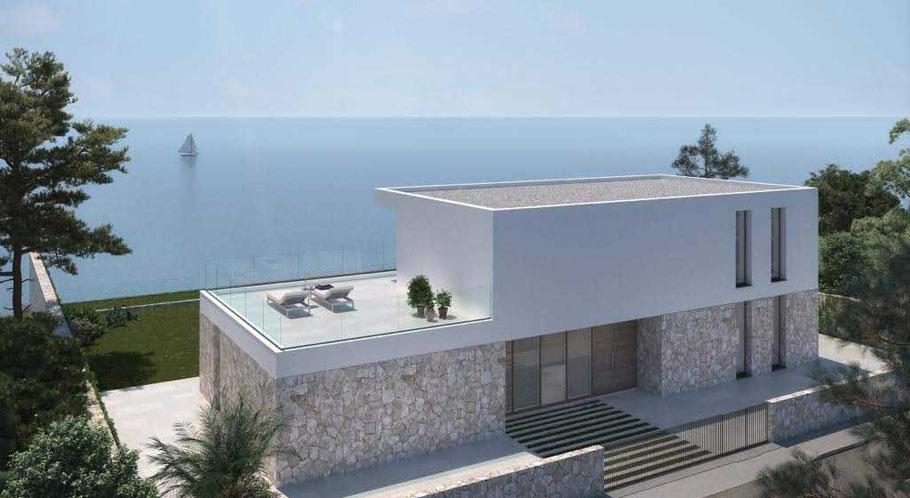 Ein Haus auf Mallorca bauen: hier ein Projekt in Cala Pi in erster Meereslinie