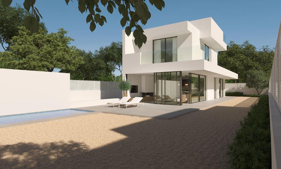 Cala Pi Home 15 entsteht auf einem flachen Meerblick Grundstück in Cala Pi auf Mallorca. Ihr Ferienhaus auf Mallorca.