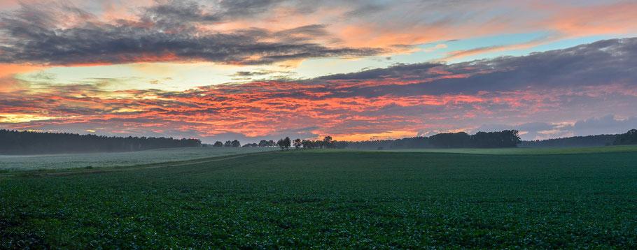 """Ein Herbsttag verabschiedet sich zwischen Hitzacker und Sarenseck, mit Nebel über den Feldern und einem """" brennenden """" Himmel ..."""