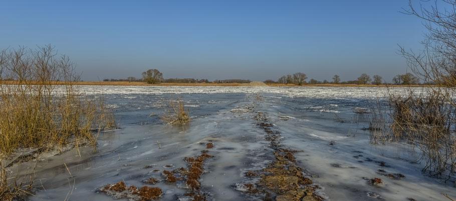 Eiszeit an der Elbe zwischen Hitzacker und Wussegel