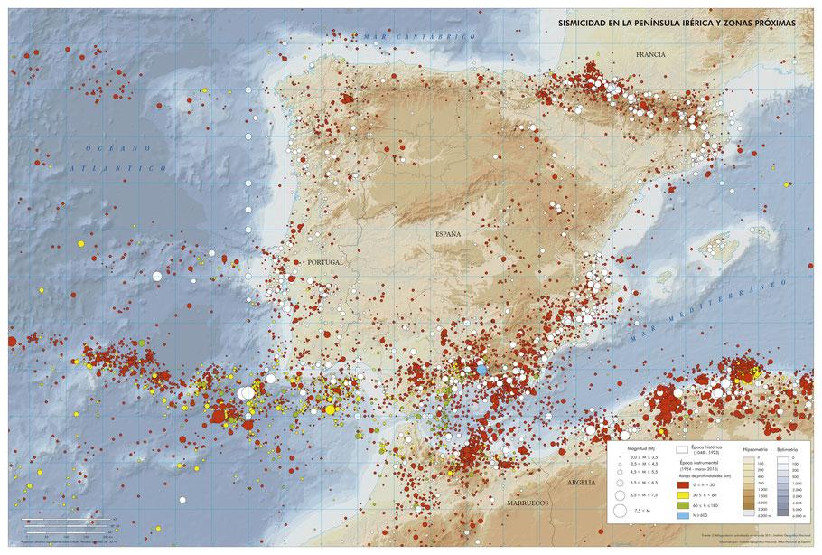 Histórico de terremotos hasta el año 2015. Instituto Geográfico Nacional