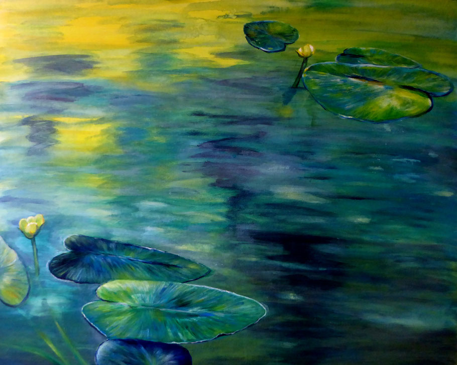 Seerosen, Acryl auf Leinwand, 80x100 cm, 1100 €
