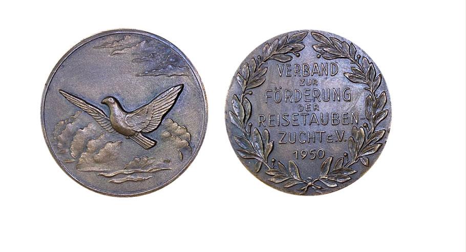 Medaille Brieftauben, Reisetaubenzucht 1950, Historie der Brieftaube, Geschichte Brieftaubenverband