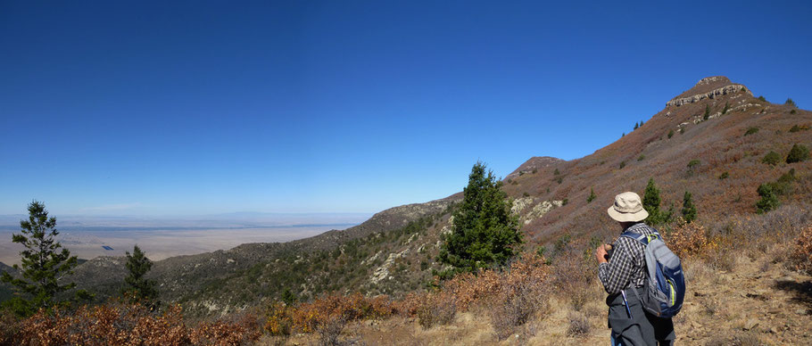 Looking at the Rio Grande Valley and Mt. Taylor from the high pass