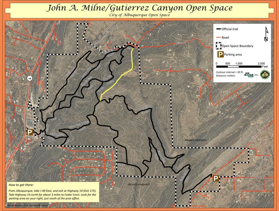John A. Milne-Gutierrez Canyon Open Space Map, Cedar Crest, New Mexico