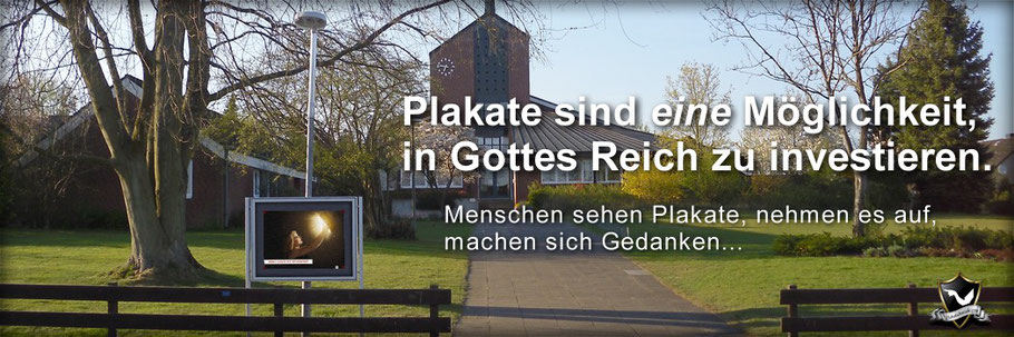 Schaukastengestaltung, SchaukastenTipps, Plakate in Gottes Reich investieren, Kirche