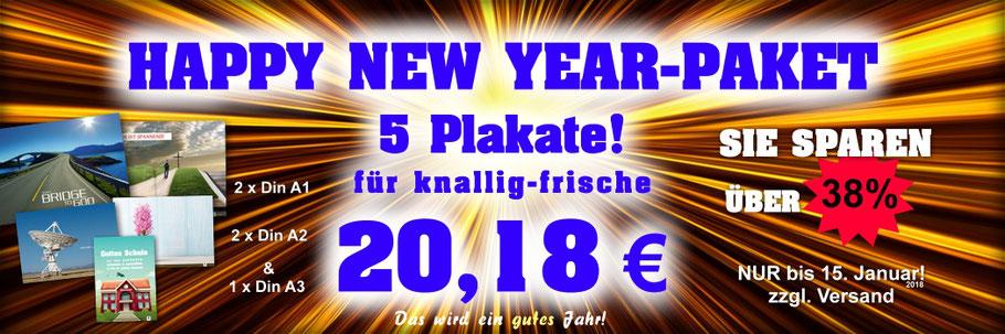 Happy-New-Year-Paket 2018, christliche Plakate