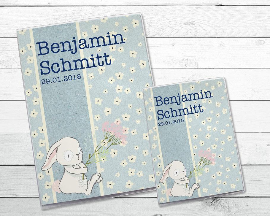 """Hüllen-Set """"Hase mit Blume"""" für U-Heft und Impfpass"""