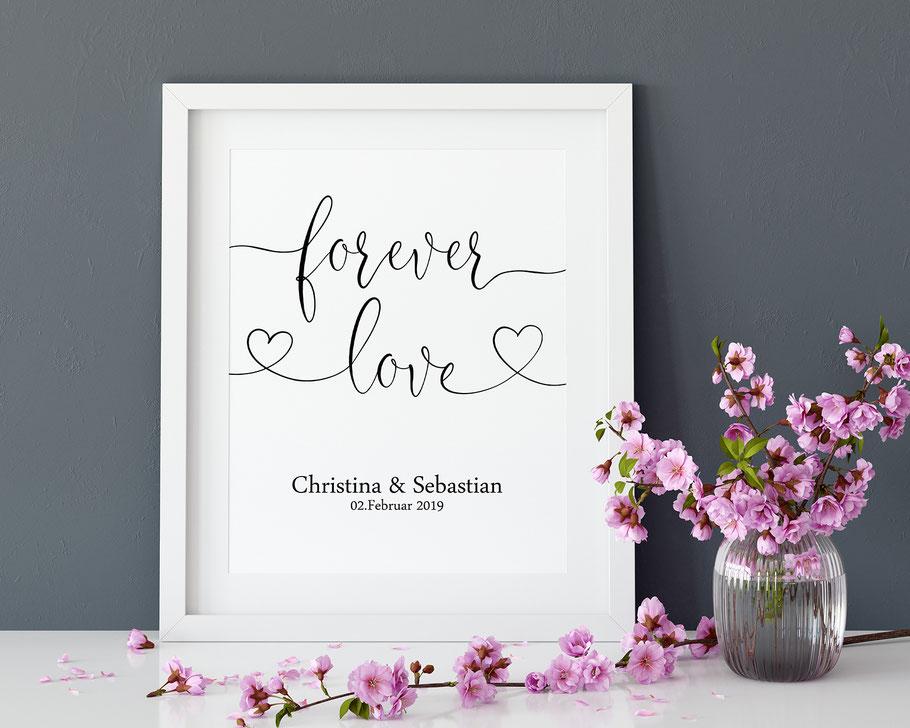 Druck forever love Hochzeitsbild Wohndeko Geschenk Hochzeit
