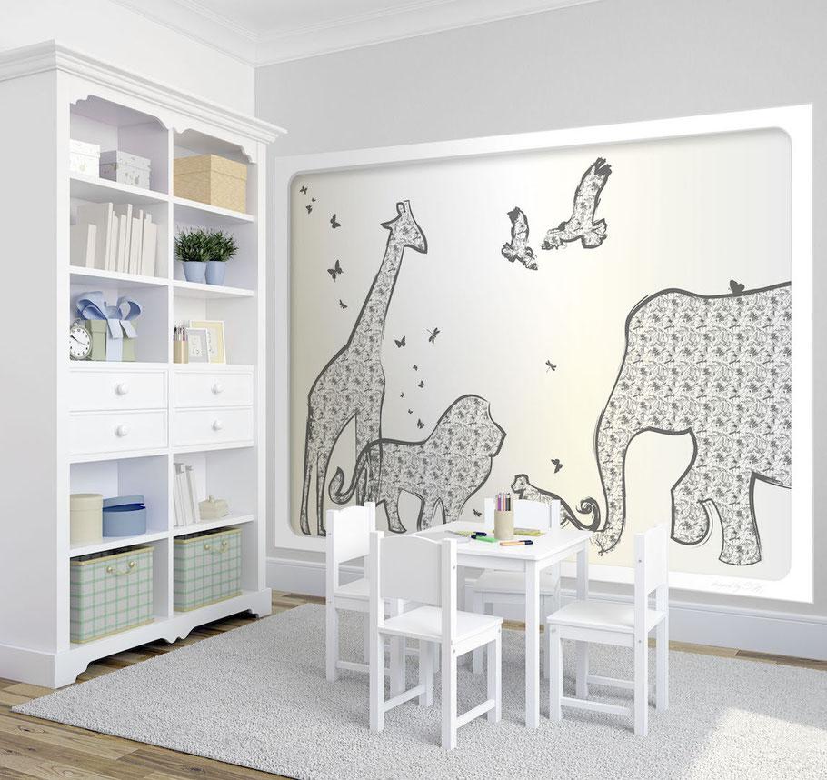 Fototapete Kinderzimmer Tiere auf Safari