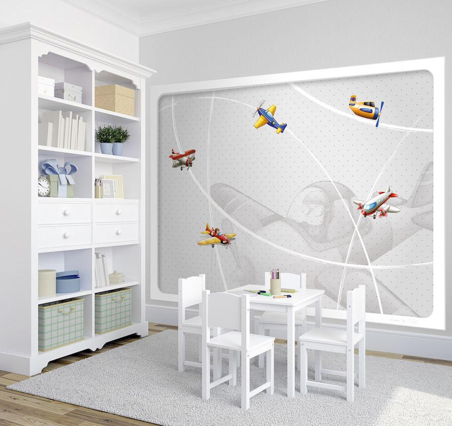 Fototapete Kinderzimmer Flugzeuge am Radar