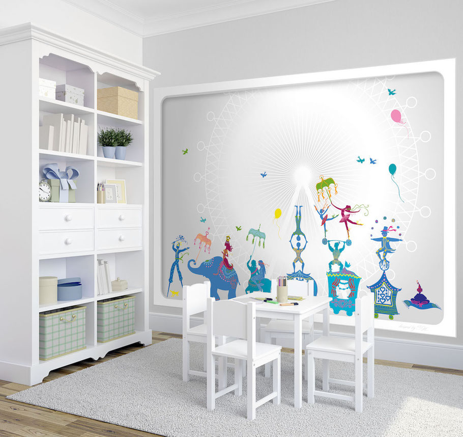 Wandbild zirkus kindertapeten wandbilder for Kinderzimmer 7 5 m2