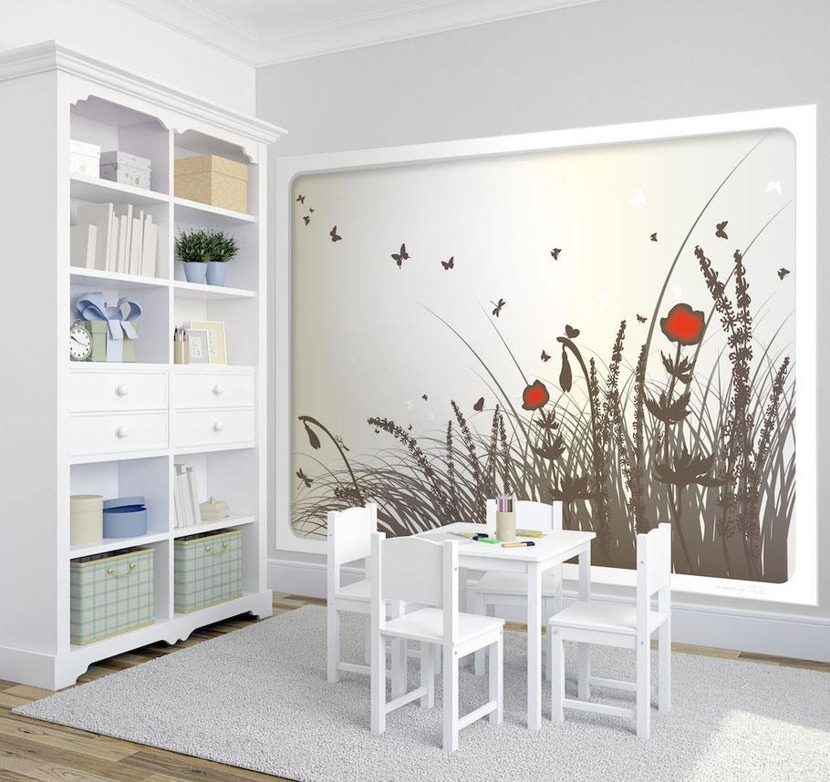 Fototapete Kinderzimmer Blumen Wiese Schmetterlinge