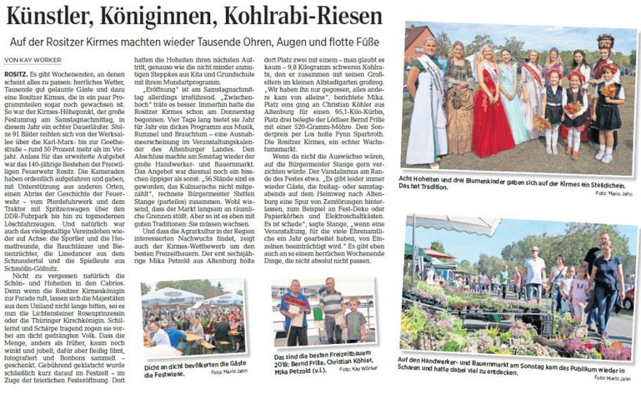 Leipziger Volkszeitung Region Altenburg vom 17.09.2018