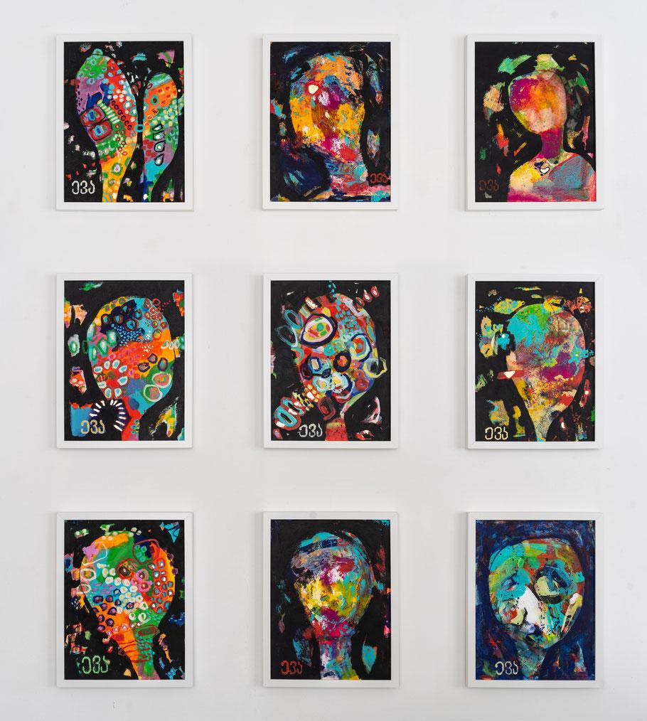 Der Poet - Gedanken / Acryl auf Malpappe gerahmt / 9 x 50x50 cm