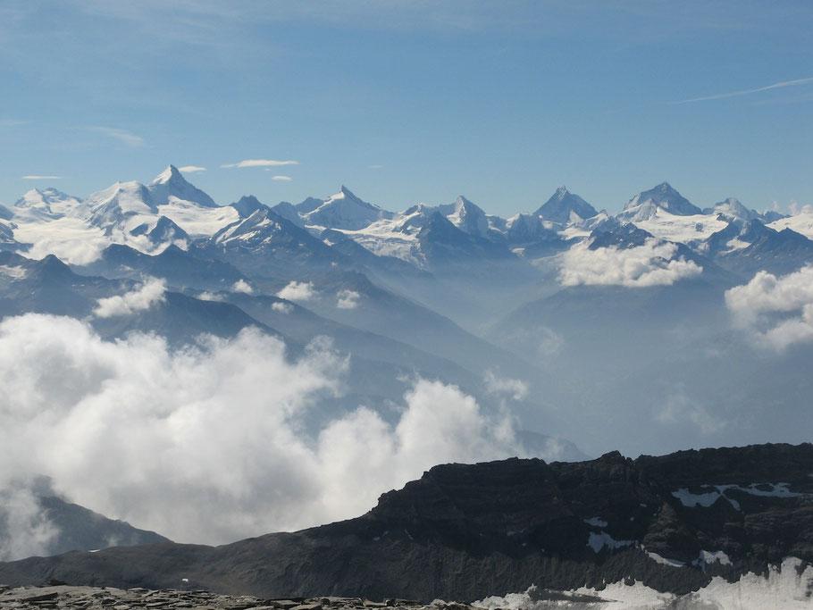 Westalpen-Panorama, Aussicht vom Wildstrubel (Berner Oberland)
