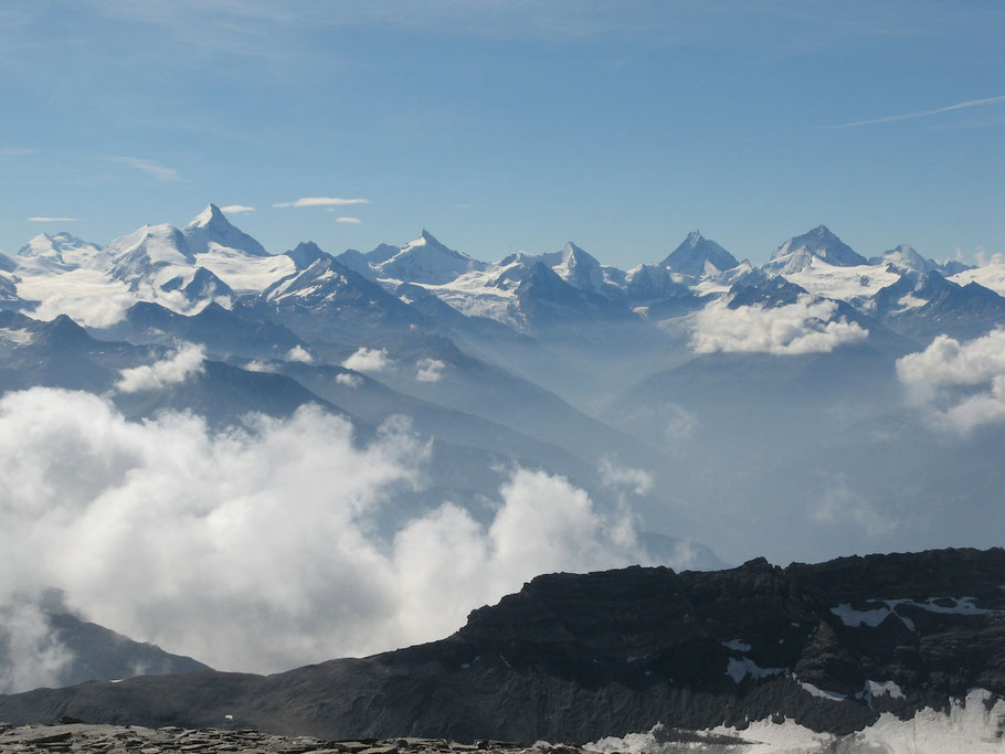 Panoramic view of the West Alps, taken on the summit of Wildstrubel (Berner Oberland/Switzerland)