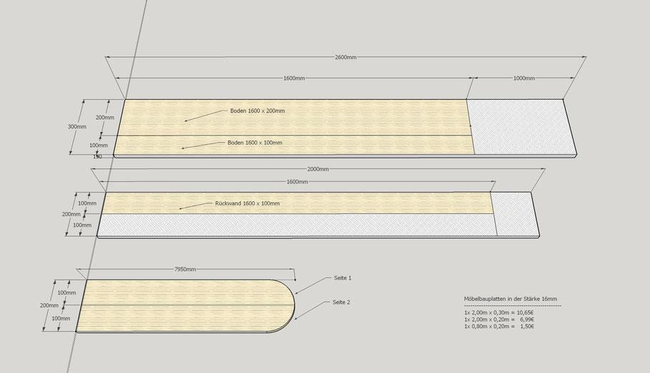 Weiße Möbelbauplatten von Bauhaus (Skizze nicht Maßstabsgetreu!) für IKEA Hemnes Wickelaufsatz