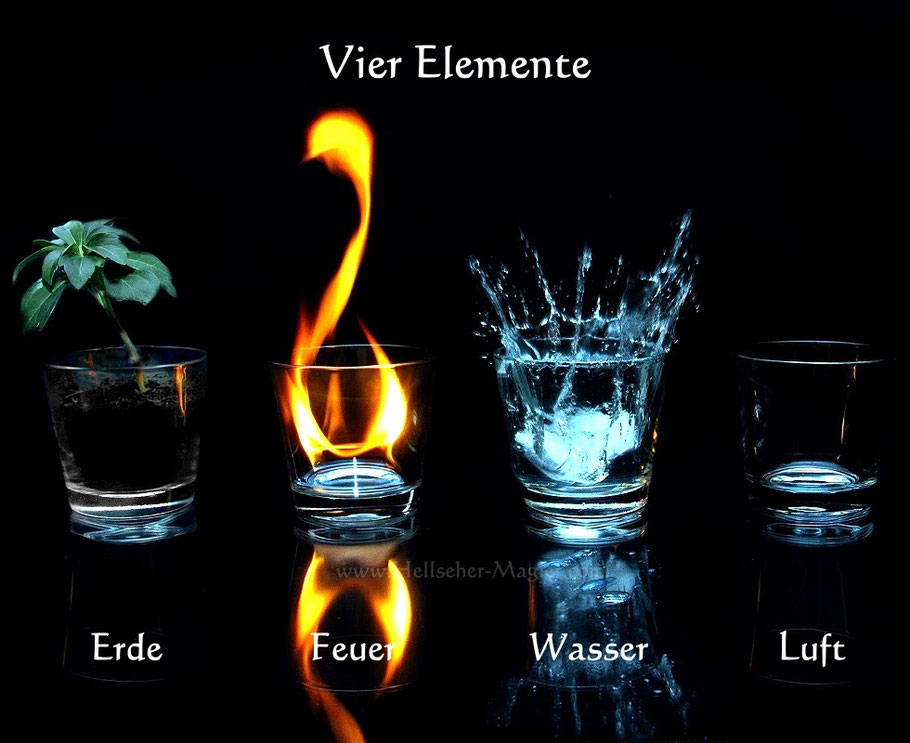 Die vier Elemente Erde, Feuer, Wasser, Luft bei Liebeszauber und in der Liebesmagie