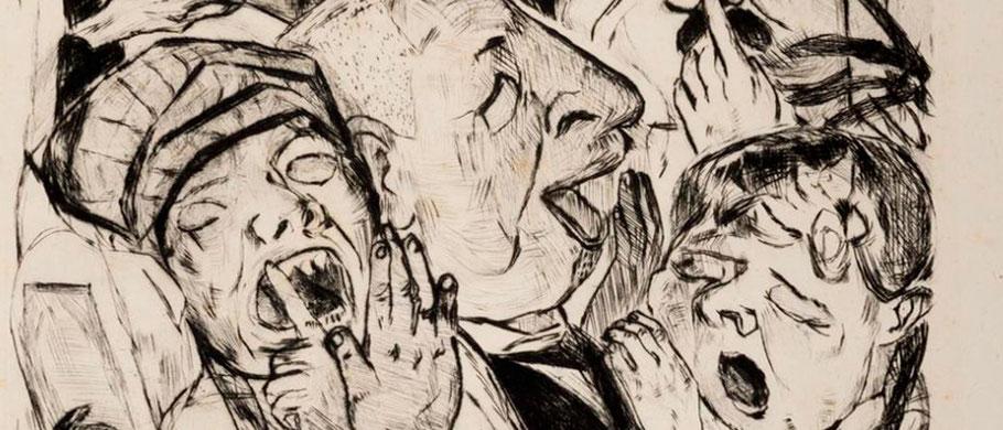 Ausschnitt aus 'Siesta' (Die Gähnenden) von Max Beckmann, 1918, Original zu sehen in der Ausstellung 'SCHLAF eine produktive Zeitverschwendung' Museen Böttcherstraße Bremen