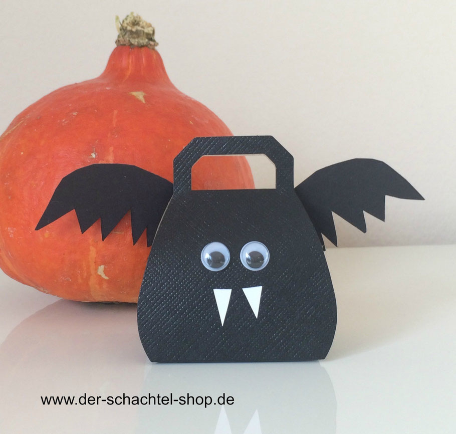 Handtaschen Schachtel schwarz, Fledermaus Schachtel, Halloween Schachtel