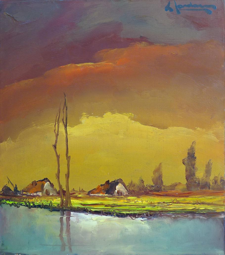 Leon Jordaens, kunstenaar. Schilderij olieverf te koop.