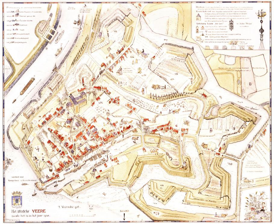 Reproductie plattegrond Het stedeke Veere 1983. Door Ina Rahusen. Ingekleurd.