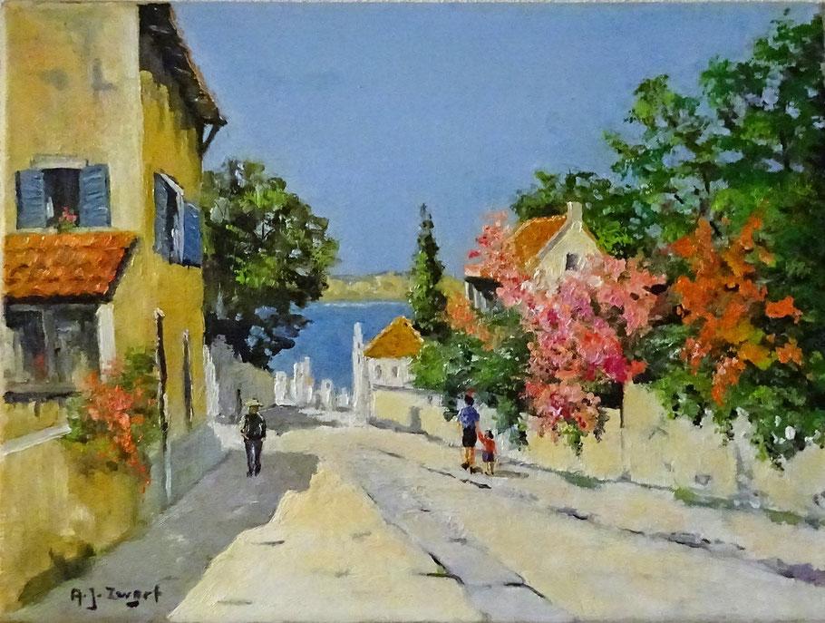 A.J. (Arie) Zwart, kunstschilder. Zonnig schilderij te koop.