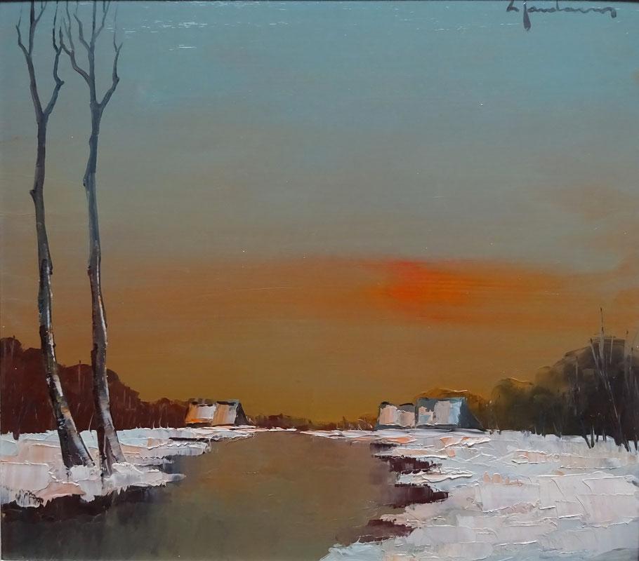 Leon Jordaens, kunstschilder. Schilderij winterlandschap te koop.