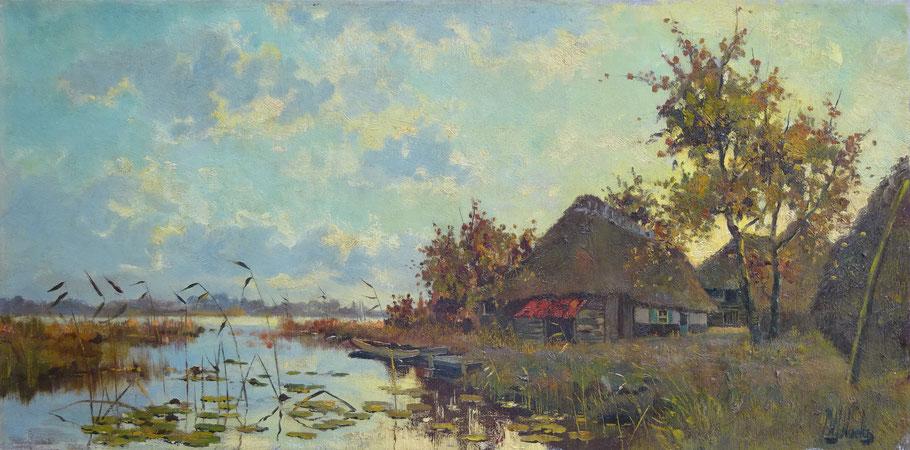 Pierre W.J. Hoeks, kunstschilder en architect. Schilderij boerderij te koop.