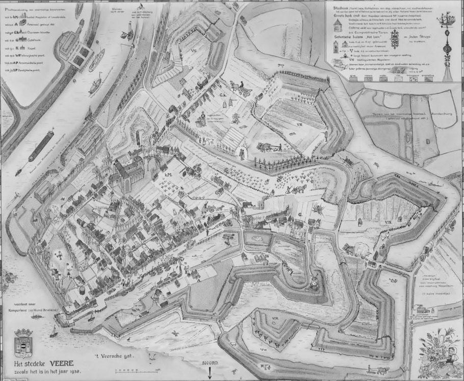 Reproductie plattegrond Het stedeke Veere 1983. Door Ina Rahusen.