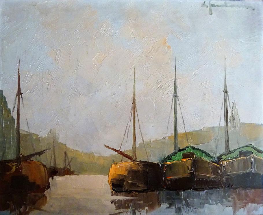 Leonard Jordaens, kunstschilder. Schilderij boten in haven te koop.