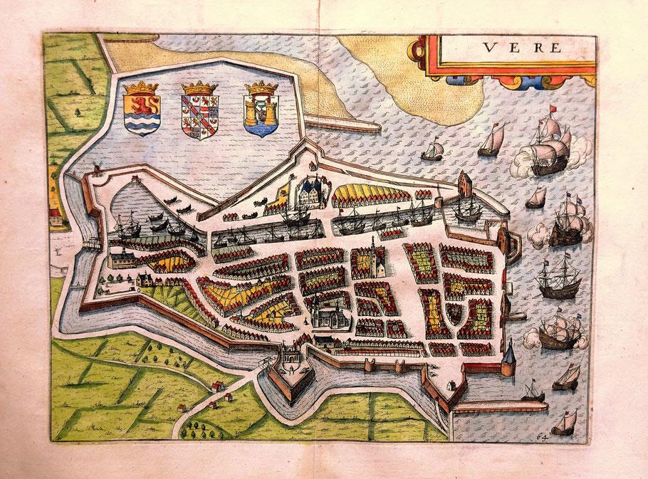 Kopergravure Vere (Veere).  J. Janssonius.