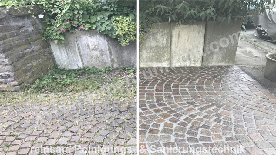 Kleinpflastersanierung bzw. Steinsanierung und unkrautdichte feste Verfugung von niemehrunkraut.