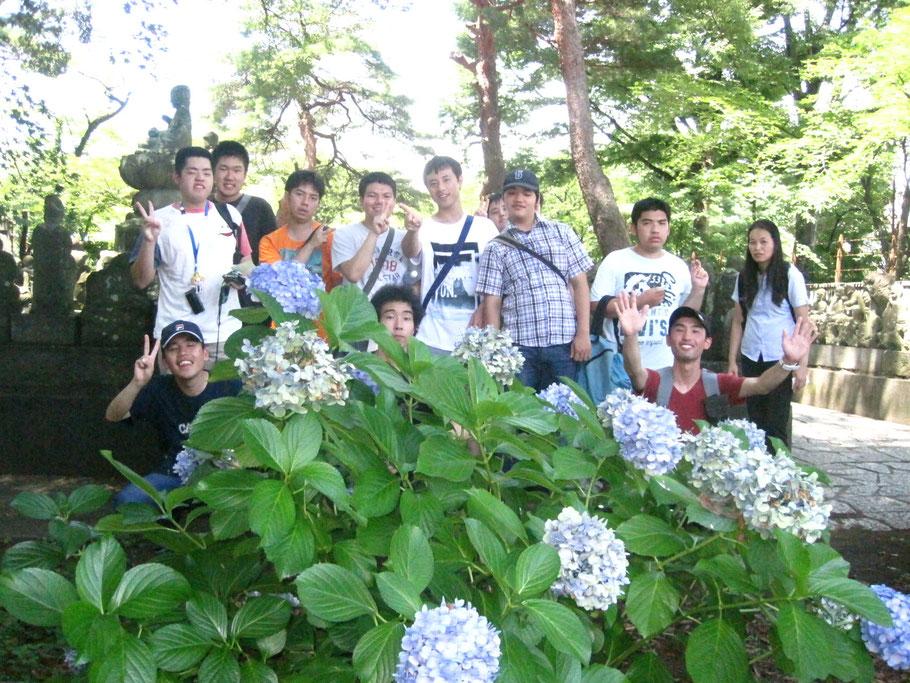 喜多院の五百羅漢像を背景に。 ものすごい暑さでしたが、あじさいの花が目に潤いを与えてくれました。