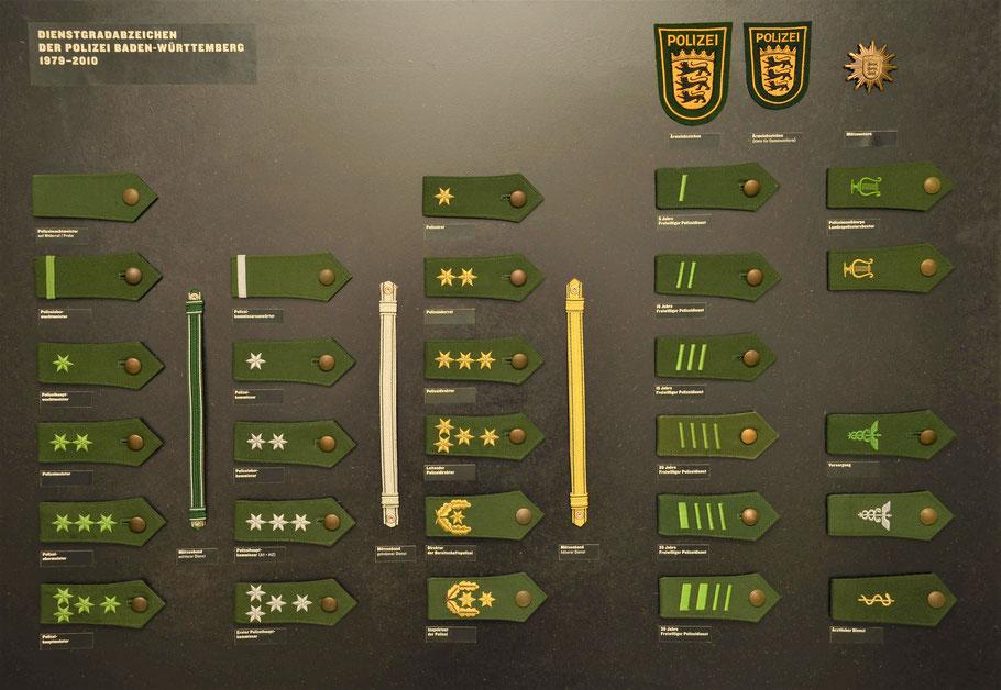 Dienstgradabzeichen Polizei Baden-Württemberg, Polizeimuseum Stuttgart