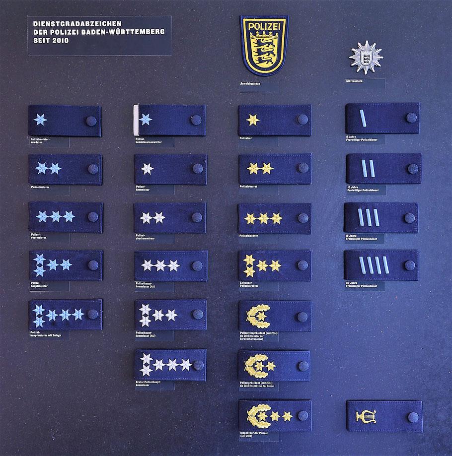 Tafel der aktuellen Dienstgradabzeichen der Polizei Baden-Württemberg im Polizeimuseum Stuttgart