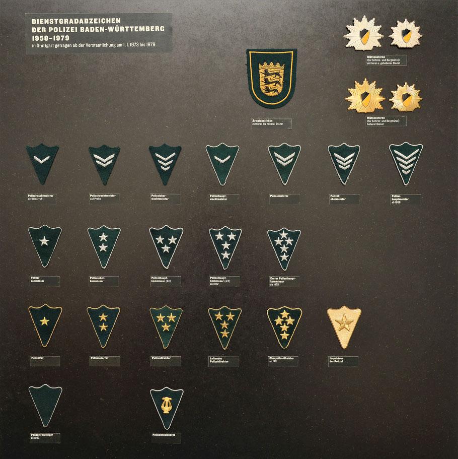 Dienstgradabzeichen Polizei Baden-Württemberg 1950, 1960 und 1970er Jahre