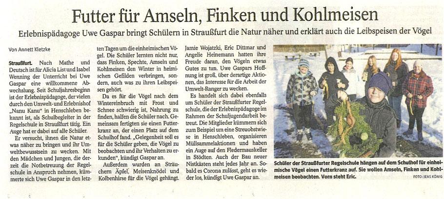 Zeitungsartikel vom 23.02.2021 Thüringer Allgemeine