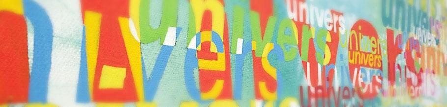 Designverlangen präsentiert: Universe -Typographie auf Leinwand von Jasmin Weiler