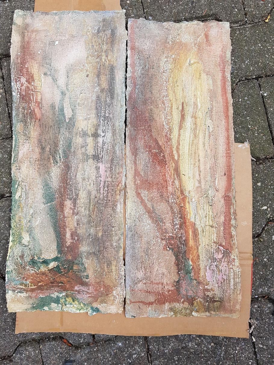 Bilder mit Sumpfkalk und Pigmenten entstanden im Workshop bei Gabriele Musebrink