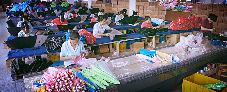 中国の傘縫製工場