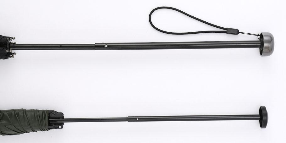 【上】オルタナスリム60 シャフトの太さは約10mm 【下】比較品:シャフトが細いものは約7.6mm