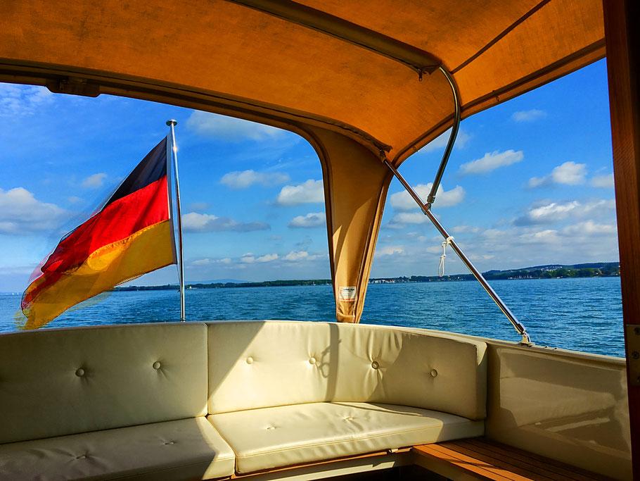 Boot, Bodensee, Seefrühstück, Frühstück, Sundowner, Sonnenuntergang, Lindau, Motoryacht Strandhaus